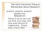 the most important thing to remember about research