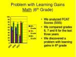 problem with learning gains math 6 th grade