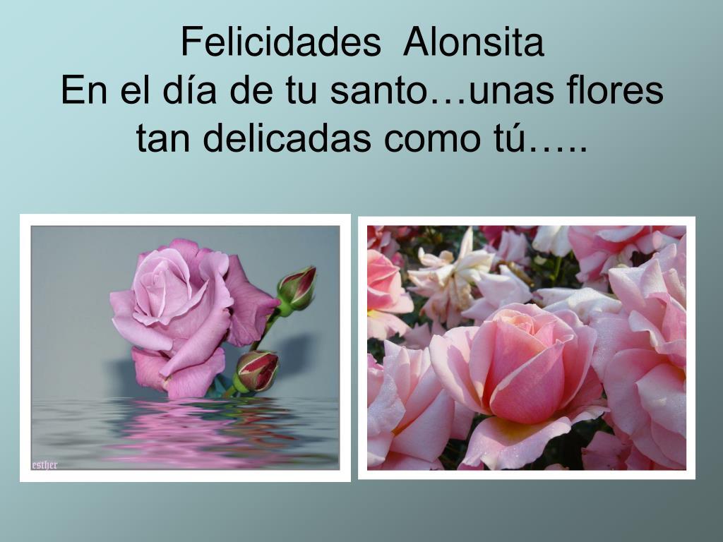 felicidades alonsita en el d a de tu santo unas flores tan delicadas como t l.