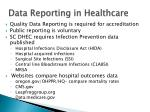 data reporting in healthcare