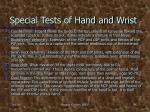 special tests of hand and wrist