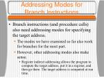 addressing modes for branch instructions