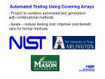 automated testing using covering arrays