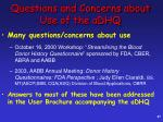 questions and concerns about use of the adhq