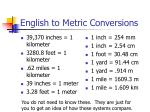 english to metric conversions