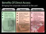 benefits of direct access bringing the corporate network to the user