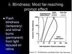 ii blindness most far reaching prompt effect