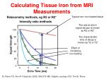 calculating tissue iron from mri measurements