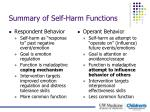 summary of self harm functions