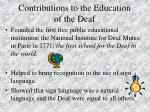 contributions to the education of the deaf