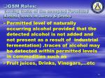 gsm roles setting limits of the accepted permitted alcohol levels in juices drinks