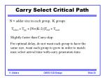carry select critical path