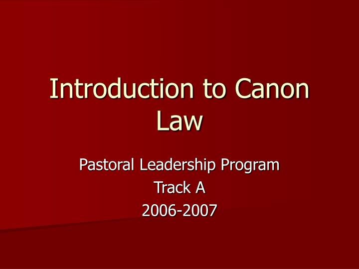 introduction to canon law n.
