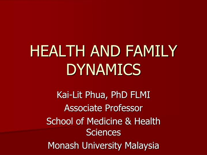 health and family dynamics n.