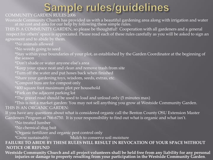 Sample rules/guidelines