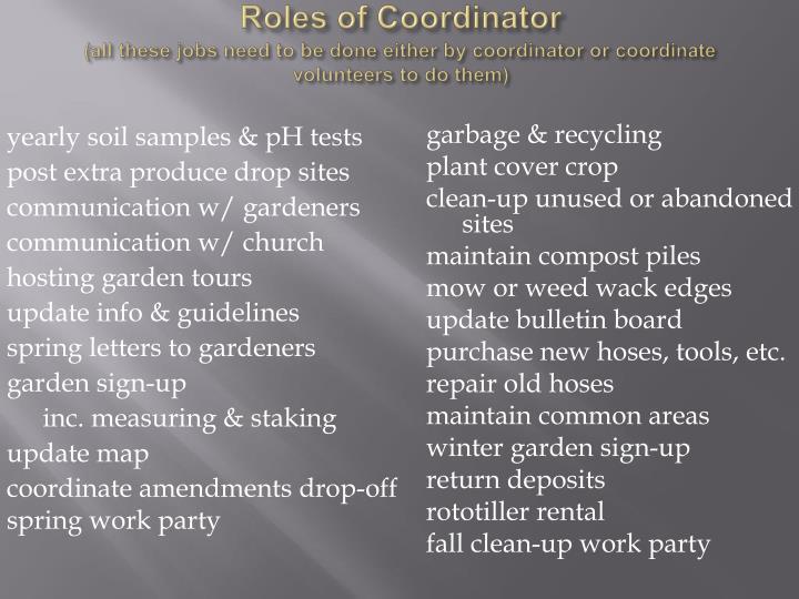 Roles of Coordinator
