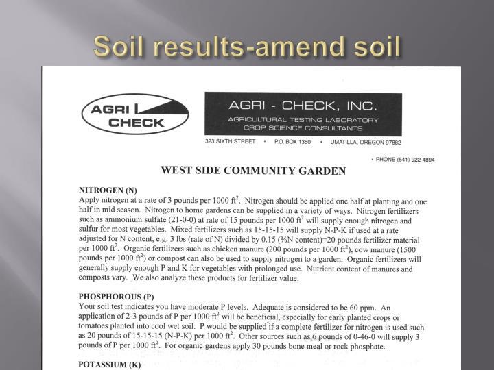 Soil results-amend soil