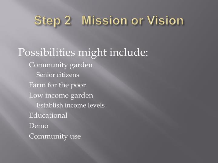 Step 2   Mission or Vision