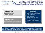 joint basing definitions for supporting supported tenant
