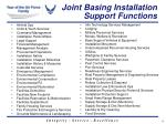 joint basing installation support functions
