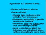 dysfunction 1 absence of trust