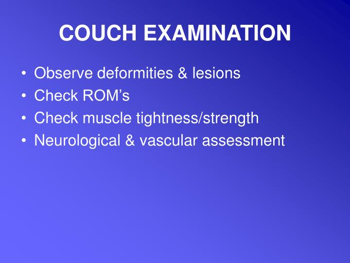 COUCH EXAMINATION