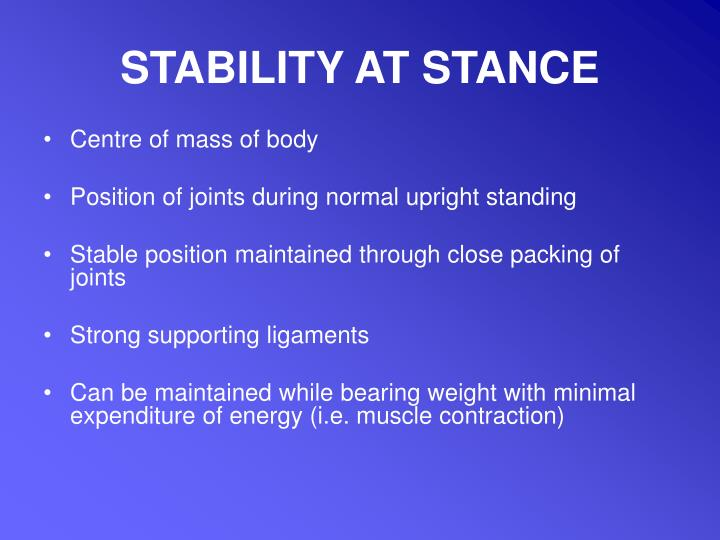 STABILITY AT STANCE