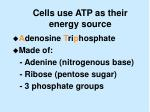 cells use atp as their energy source