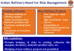indian refiners need for risk management