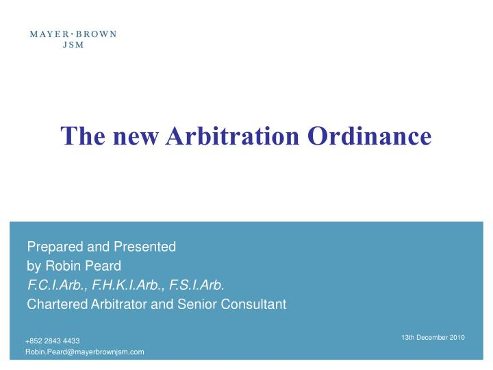 the new arbitration ordinance n.
