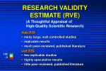 research validity estimate rve