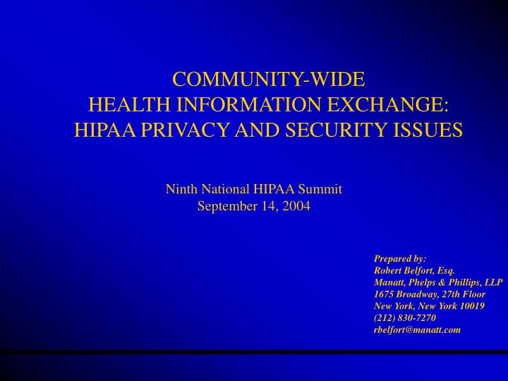 community wide health information exchange hipaa privacy and security issues n.