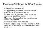 preparing catalogers for rda training10