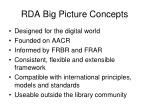 rda big picture concepts
