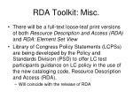rda toolkit misc