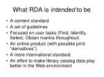 what rda is intended to be
