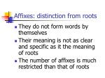 affixes distinction from roots
