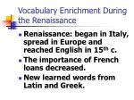 vocabulary enrichment during the renaissance