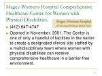 magee womens hospital comprehensive healthcare center for women with physical disabilities