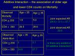 additive interaction the association of older age and lower cd4 counts on mortality