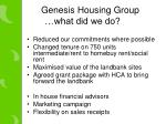genesis housing group what did we do