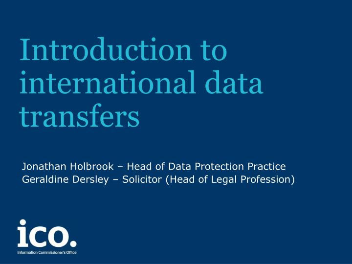 introduction to international data transfers n.