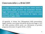 l intervento della l n 88 del 2009