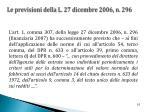 le previsioni della l 27 dicembre 2006 n 296