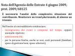 nota dell agenzia delle entrate 4 giugno 2009 prot 2009 68125
