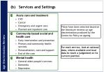 b services and settings