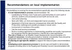 recommendations on local implementation
