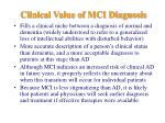 clinical value of mci diagnosis