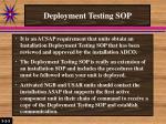 deployment testing sop