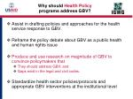 why should health policy programs address gbv